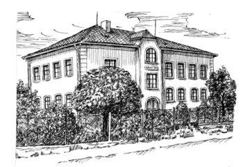 Kresba školy v Lubojatech z roku 1912